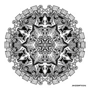Symmetry Drawings - Mandala drawing 34 by Jim Gogarty