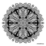 Symmetry Drawings - Mandala drawing 36 by Jim Gogarty