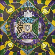 Mardi Gras Paintings - Mandala of New Orleans by Jason Turner