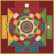 Tibetan Buddhism Painting Posters - Mandala of the 5 Elements Earth-Water-Fire-Air-Space Poster by Carmen Mensink