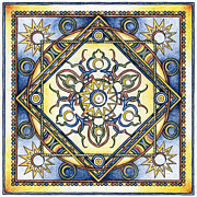 Yellow Chakra Posters - Mandala of the Sun Poster by Hakon Soreide