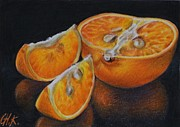 Colored Background Drawings - Mandarin by Christine Karron
