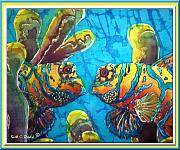Blue Tapestries - Textiles Posters - Mandarinfish- Bordered Poster by Sue Duda
