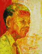 South Africa Painting Prints - Mandela Print by Bayo Iribhogbe