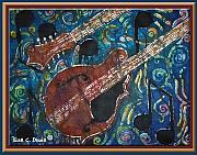 Music Tapestries - Textiles Prints - Mandolin - Bordered Print by Sue Duda