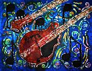 Music Tapestries - Textiles Prints - Mandolin  Print by Sue Duda