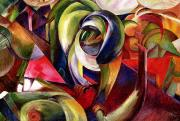 Machine Painting Posters - Mandrill Poster by Franz Marc