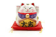 Right Metal Prints - Maneki Neko Metal Print by Fabrizio Troiani
