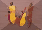Black Men Painting Framed Prints - Mango Jazz Framed Print by Kaaria Mucherera
