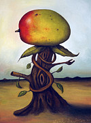 Fruit Posters - Mango Tree AKA Senor Mango Poster by Leah Saulnier The Painting Maniac