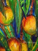 Fresh Green Painting Posters - Mango Tree Poster by Julie Kerns Schaper - Printscapes