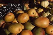 Mangoes Posters - Mangoes And Melons Priced In Euros Poster by David Evans