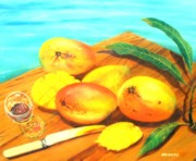Mango Posters - Mangoes By The Pool Poster by Ky Wilms
