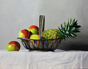 Mangos Paintings - Mangos and pineapple by Jorge   Alberto