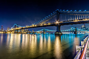 Val Black Russian Tourchin - Manhattan and Brooklyn Bridges at night.