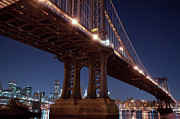 Johnny Sandaire Prints - Manhattan and Brooklyn Bridges Print by Johnny Sandaire