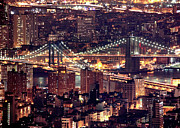 New York City Night Prints - Manhattan And Brooklyn Bridges Print by Rob Kroenert