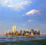 Twin Towers Trade Center Painting Metal Prints - Manhattan and Twin Towers from New York Harbor Metal Print by Peter Salwen