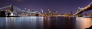 Nightlights Prints - Manhattan at Night Panorama 1 Print by Val Black Russian Tourchin