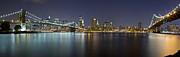 Nightlights Framed Prints - Manhattan at Night Panorama 2 Framed Print by Val Black Russian Tourchin