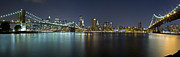 Nightlights Prints - Manhattan at Night Panorama 3 Print by Val Black Russian Tourchin