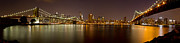 Nightlights Prints - Manhattan at Night Panorama 4 Print by Val Black Russian Tourchin