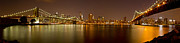 Nightlights Prints - Manhattan at Night Panorama 5 Print by Val Black Russian Tourchin