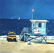 Modern Western Paintings - Manhattan Beach Lifeguard Station by Lance Headlee