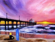 Piers Painting Framed Prints - Manhattan Beach Pier Framed Print by Jamie Frier