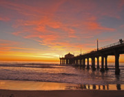 Los Angeles Photo Framed Prints - Manhattan Beach Sunset Framed Print by Matt MacMillan