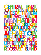 Word Map Posters - Manhattan Boroughs Bus Blind Poster by Michael Tompsett