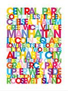 Manhattan Boroughs Bus Blind Print by Michael Tompsett