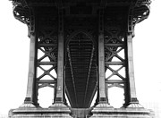 Below Framed Prints - Manhattan Bridge Framed Print by Adam Garelick