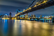 Harlem River Posters - Manhattan Bridge and Downtown Brooklyn at night. Poster by Val Black Russian Tourchin