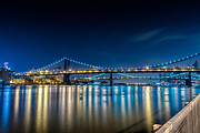 Nightlights Framed Prints - Manhattan Bridge and light reflections in East River. Framed Print by Val Black Russian Tourchin