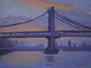 Brooklyn Bridge Paintings - Manhattan Bridge at Dawn by Walter Lynn Mosley