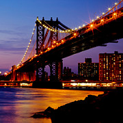 Nyc Skyline Posters - Manhattan Bridge at Dusk Poster by David Hahn