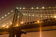 Val Black Russian Tourchin Framed Prints - Manhattan Bridge at Night 1 Framed Print by Val Black Russian Tourchin
