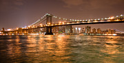 Manhattan Bridge Photos - Manhattan Bridge At Night by Ken Marsh
