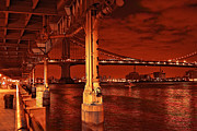 Edison Posters - Manhattan Bridge at Night the Urban Style - Sienna Red Poster by Alex AG