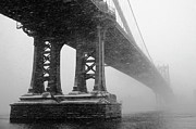 Storm Metal Prints - Manhattan Bridge Durning Winter Snow Storm Metal Print by Anthony Pitch