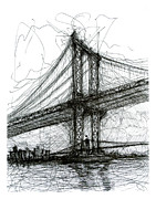 Brooklyn Bridge Drawings Posters - Manhattan Bridge from Rutgers Street NYC Poster by Brendan Higgins