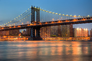 Lighted Street Prints - Manhattan Bridge I Print by Clarence Holmes