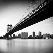 Black And White Photography Metal Prints - Manhattan Bridge Metal Print by Randy Le