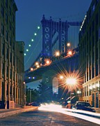 Light Photography Posters - Manhattan Bridge Poster by Thomas Kurmeier