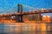 Impasto Photo Posters - Manhattan Bridge Twilight Impasto Poster by Clarence Holmes