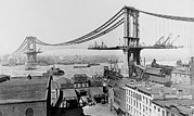 Canal Street Prints - Manhattan Bridge Under Construction Print by Everett