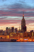 Skies - Manhattan Buildings and Pre-Sunrise Sky by Clarence Holmes