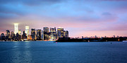 Twin Towers World Trade Center Prints - Manhattan Dawn Print by Kristin Elmquist