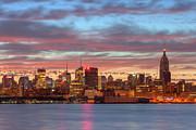 Manhattan Dawn Skyline I Print by Clarence Holmes